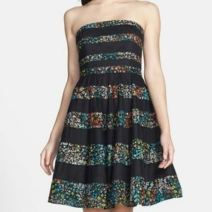 Betsey Johnson Floral Fit & Flare Strapless Dress